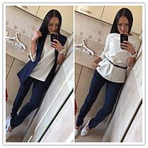 Костюм офисный брюки блуза жилетка габардин, фото 2