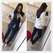 Костюм офисный брюки блуза жилетка габардин, фото 3
