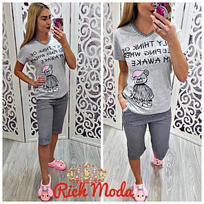 Пижама капри в мелкий горошек и футболка с принтом, фото 2