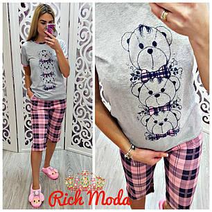 Пижама капри в клетку и футболка с принтом, фото 2