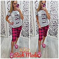 Пижама капри в клетку и футболка с принтом, фото 3