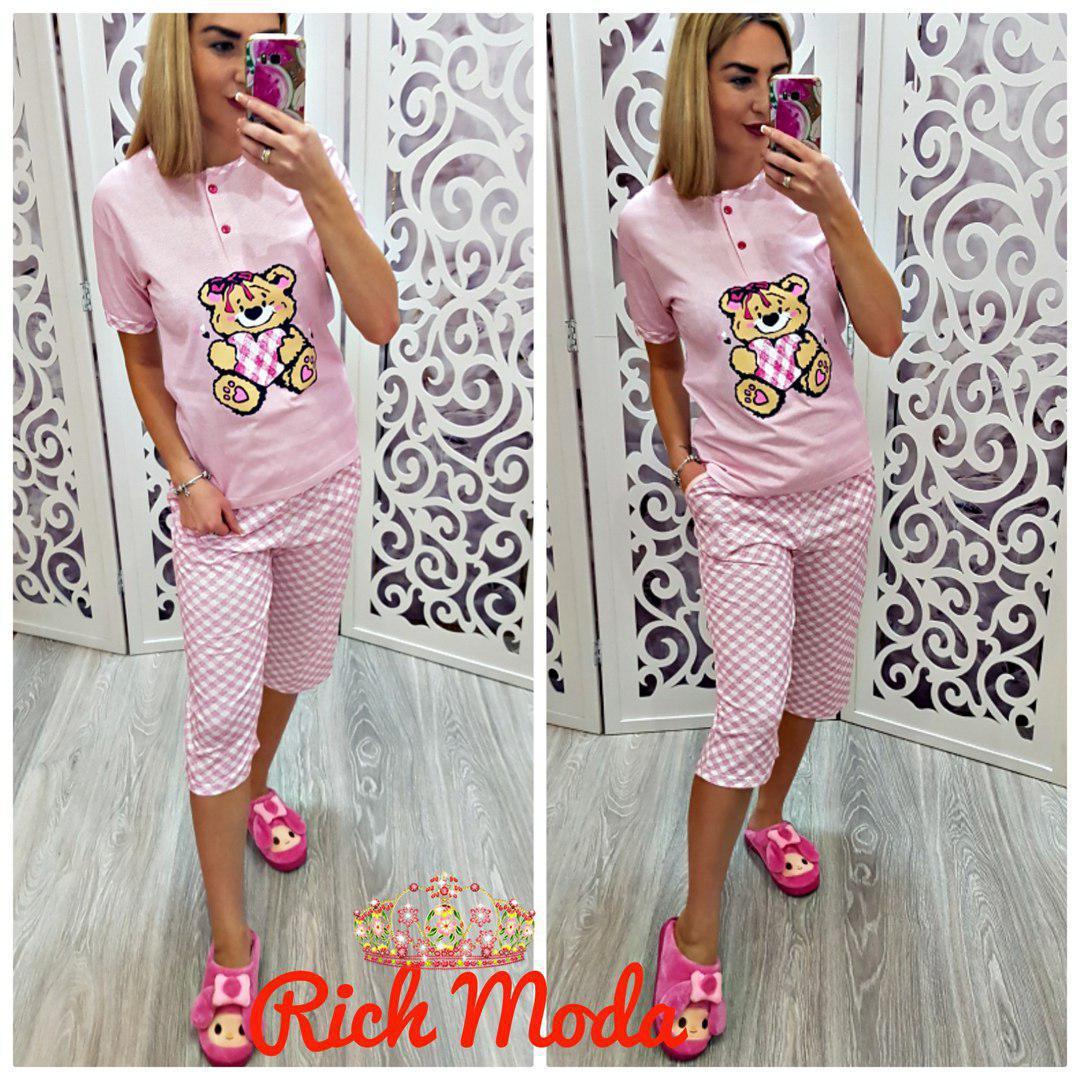 Пижама розовая с мишкой капри и футболка