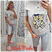 Пижама розовая с мишкой капри и футболка, фото 2