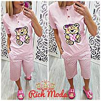 Пижама розовая с мишкой капри и футболка, фото 3