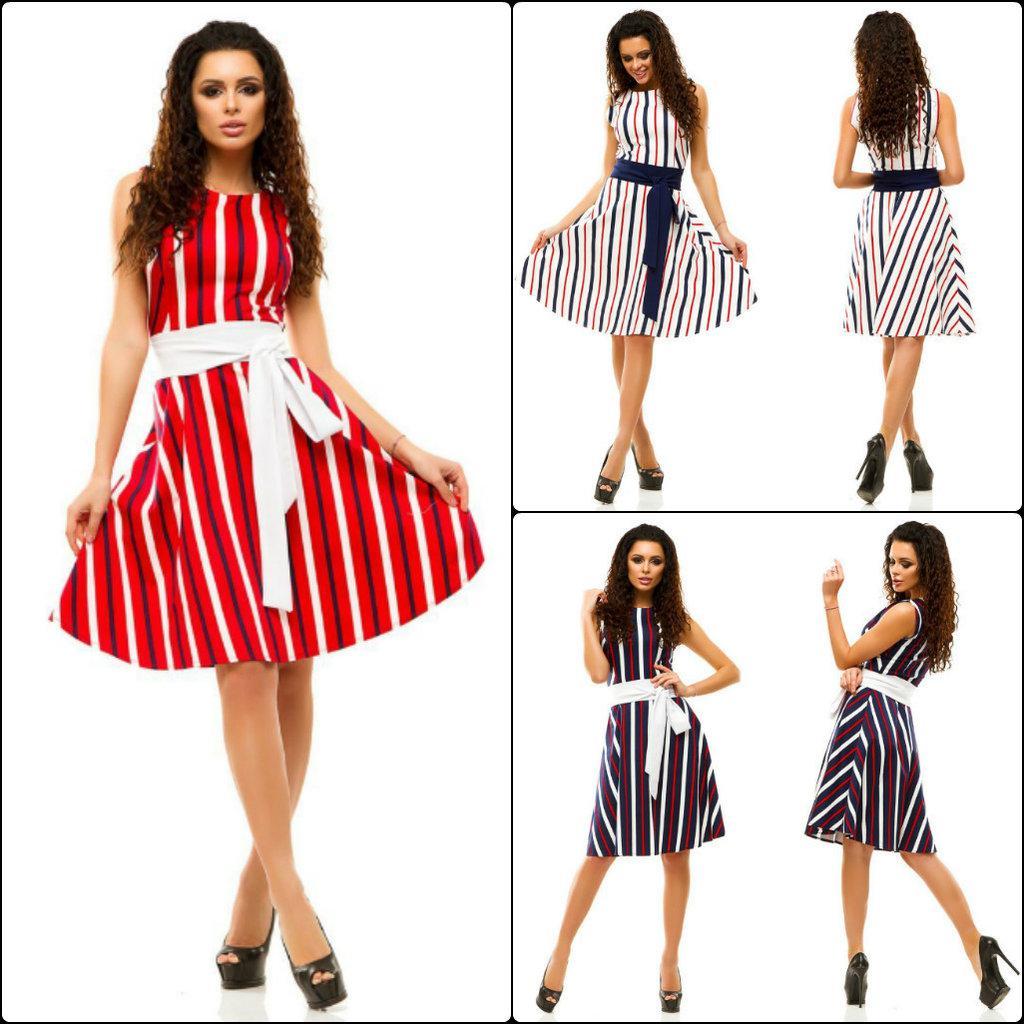Платье в полоску Shoke с поясом / ретро / летнее / легкое