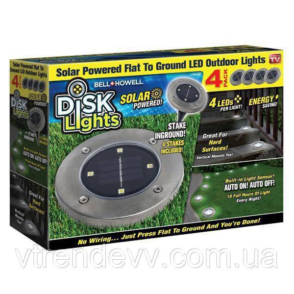 Cадовые светильник на солнечной батарее Disk Lights MOD-L015-1 (4шт)