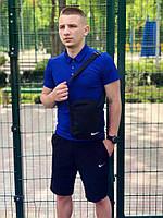 Летний костюм футболка и шорты (поло) Nike сине-черный + подарок