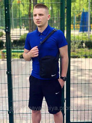 Мужской костюм футболка и шорты (поло) Nike сине-черный + подарок, фото 2