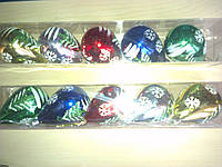 Шары новогодние Груша, набор 5шт. d=8см. с рисунком