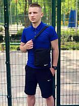 Мужской костюм футболка и шорты (поло) Nike тёмно-синий + подарок, фото 2