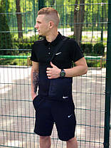 Мужской костюм футболка и шорты (поло) Nike тёмно-синий + подарок, фото 3