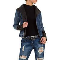 Байкерская джинсовая куртка-косуха с экокожей Vivo Modo (Италия) Черный L/40