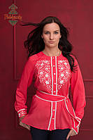 Жіноча вишита блуза Коралова квітка, фото 1