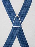 Широкие мужские подтяжки синие, фото 4