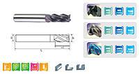 Фреза концевая D4мм, d4 мм, Lреж 16 мм, L75 мм, 4 зуба, обработка до HRC45, твердый сплав с покрытием