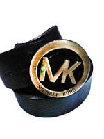 Кожаный ремень Michael Kors черный с бронзовой пряжкой