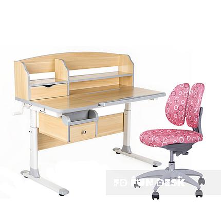 Комплект парта для подростка Sognare Grey + детское ортопедическое кресло SST9 Pink FunDesk, фото 2
