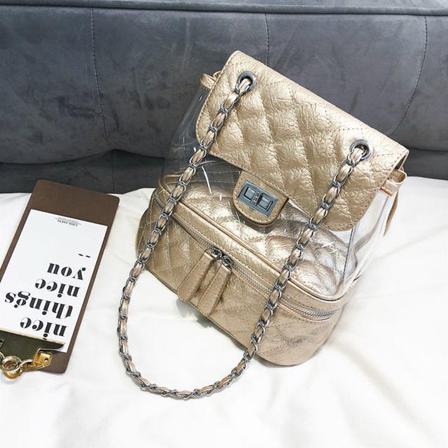 Стеганая сумка-рюкзак бронза