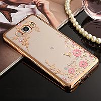 Гламурный чехол на Samsung Galaxy J5 J510 2016p. стрази камушки силикон для самсунга золотой ТПУ цвети