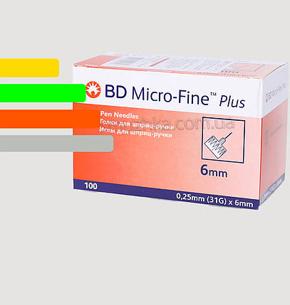Иглы инсулиновые Микрофайн Плюс 6мм-BD Micro-Fine Plus, фото 2