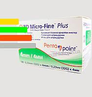 Голки для інсулінових шприц-ручок Микрофайн 4 мм, BD Micro-fine Plus 32G