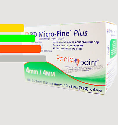 Иглы для инсулиновых шприц-ручек Микрофайн 4 мм, BD Micro-fine Plus 32G, фото 2