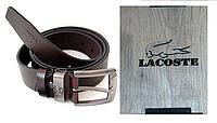 Кожаный ремень Lacoste коричневый с подарочным коробком