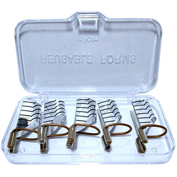 Многоразовые Формы для Ногтей Серебро, Набор из 5 форм Упаковкой 10 наборов, Материалы для Наращивания Ногтей