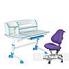 Комплект подростковая парта для школы Amare II Blue + ортопедическое кресло Bravo Purple FunDesk