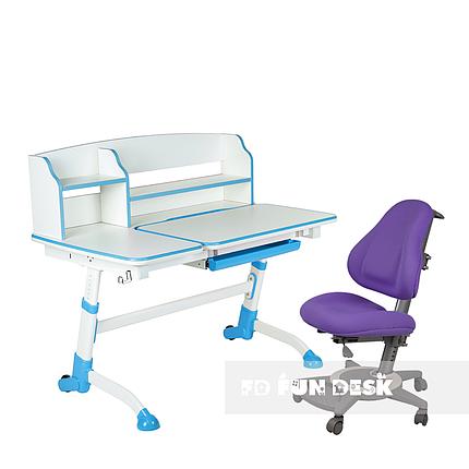 Комплект подростковая парта для школы Amare II Blue + ортопедическое кресло Bravo Purple FunDesk , фото 2