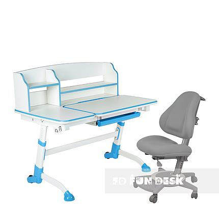 Комплект подростковая парта для школы Amare II Blue + ортопедическое кресло Bravo Grey FunDesk, фото 2
