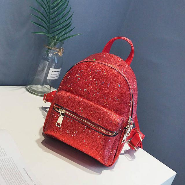Блестящий мини рюкзак красный