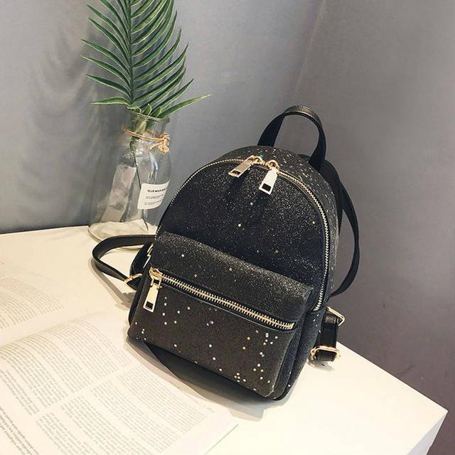 Блестящий мини рюкзак черный