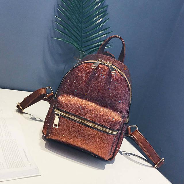 Блестящий мини рюкзак коричневый