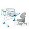 Комплект подростковая парта для школы Amare II Blue + ортопедическое кресло Contento Grey FunDesk