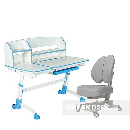 Комплект подростковая парта для школы Amare II Blue + ортопедическое кресло Contento Grey FunDesk , фото 2