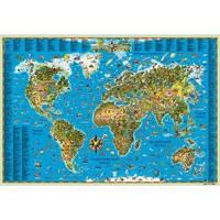 Карта мира для детей 158х108 см (на картоне ламинированная на планках) (рус. яз)