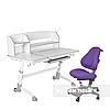 Комплект подростковая парта для школы Amare II Grey + ортопедическое кресло Bravo Purple FunDesk