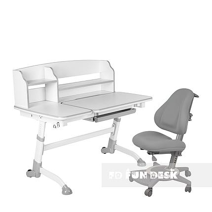 Комплект подростковая парта для школы Amare II Grey + ортопедическое кресло Bravo Grey FunDesk , фото 2