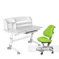 Комплект подростковая парта для школы Amare II Grey + ортопедическое кресло Bravo Green FunDesk