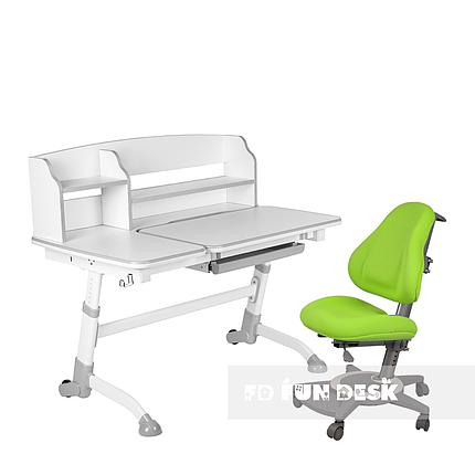 Комплект подростковая парта для школы Amare II Grey + ортопедическое кресло Bravo Green FunDesk , фото 2