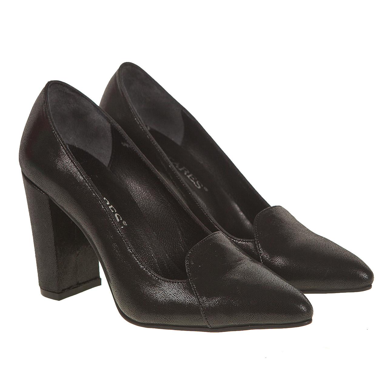 69da75230cc086 Туфли женские Antares (черные, кожаные, на высоком каблуке, удобные, модные)