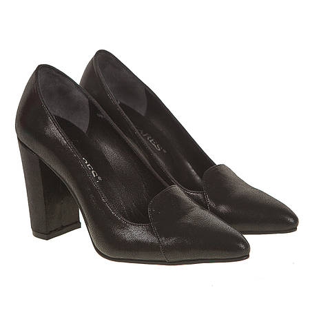 Туфли женские Antares (черные, кожаные, на высоком каблуке, удобные, модные) 9c2986d315f