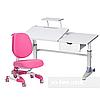 Комплект подростковая парта для школы Ballare Grey + ортопедическое кресло Buono Pink FunDesk