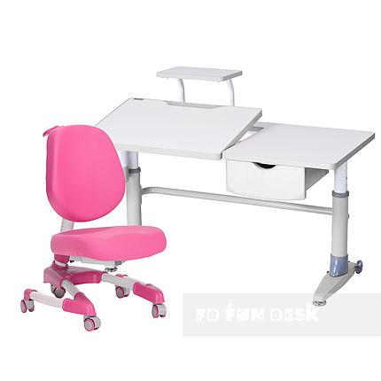 Комплект подростковая парта для школы Ballare Grey + ортопедическое кресло Buono Pink FunDesk , фото 2