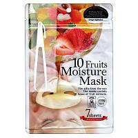 Маски для лица с экстрактами 10 фруктов Japan Gals 10 Fruits Moisture Mask, 7 шт