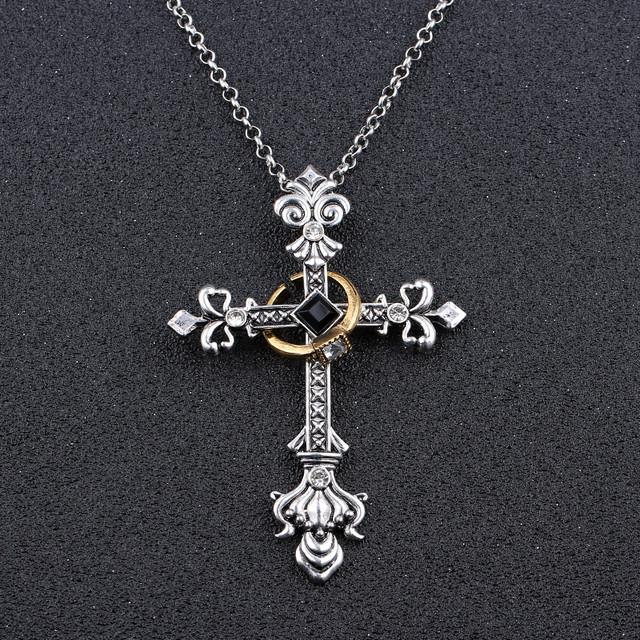 колье крест с кольцом
