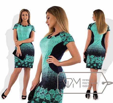 Бирюзовое летнее платье батал, фото 2