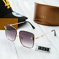 Женские солнцезащитные очки Gucci Гуччи с квадратной оправой фиолетовые с  пчелой (реплика) bb738425361