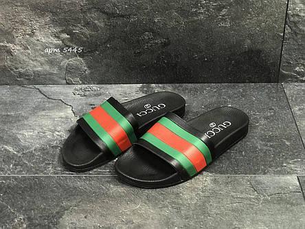 Мужские шлепанцы GUCCI (реплика) черные/красные/зеленые 40,41р, фото 2
